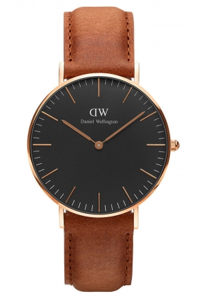 Classic Black Durham 36mm Rose Gold DW00100138