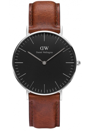 Daniel Wellington Classic Black St Mawes Brown Leather Strap  36mm DW00100142