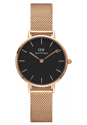 DANIEL WELLINGTON CLASSIC BLACK PETITE MELROSE ROSE GOLD  28MM DW00100217