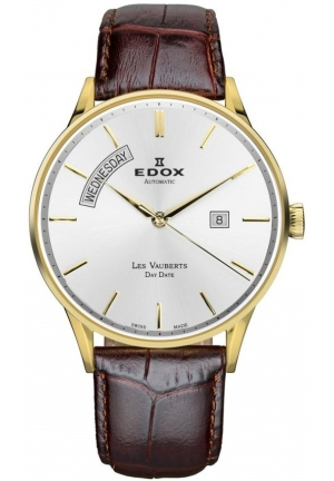 EDOX Men's AID Les Vauberts Automatic Gold PVD Silver Dial Leather Watch