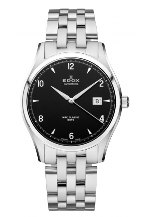 EDOX Men's Automatic Black Dial Stainless Steel Bracelet Date Watch 40mm