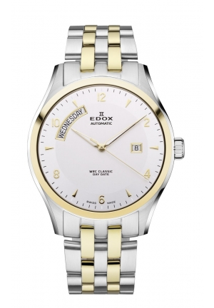 EDOX Men's Automatic Day Date 2 Tone Stainless Steel Bracelet Watch 43mm