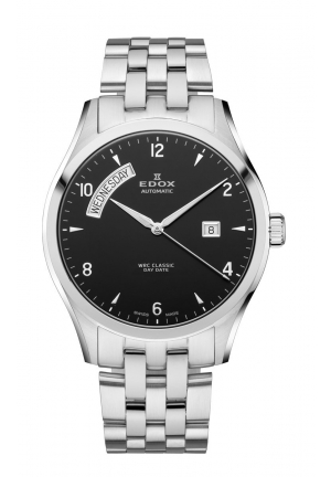 EDOX Men's Automatic Day Date Black Dial Stainless Steel Bracelet Watch 43mm