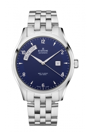 EDOX Men's Automatic Day Date Blue Dial Stainless Steel Bracelet Watch 43mm