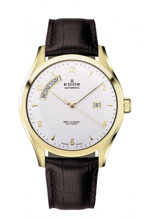 EDOX Men's Automatic Gold Stainless Steel Brown Leather Day Date Watch 43mm