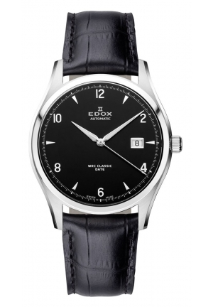 EDOX Men's Automatic Stainless Steel Black Leather Date Watch 40mm