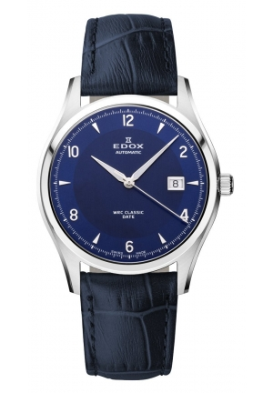 EDOX Men's Automatic Stainless Steel Blue Leather Date Watch 40mm
