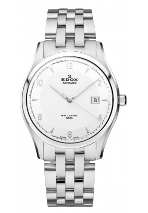 EDOX Men's Automatic White Dial Stainless Steel Bracelet Date Watch 40mm
