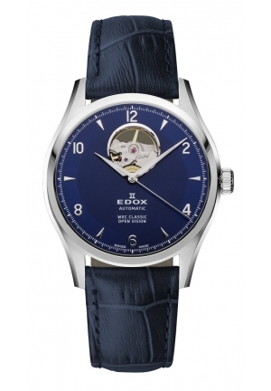EDOX Men's Blue Automatic Stainless Steel Leather Watch 39.5mm