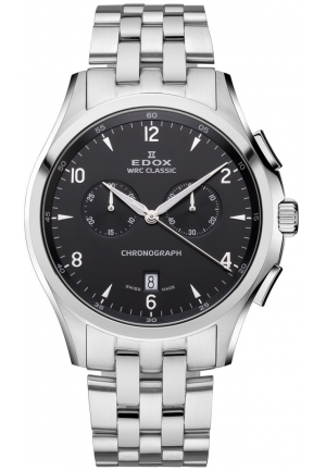 EDOX Men's Chronograph Date Black Dial Stainless Steel Bracelet Watch 43mm