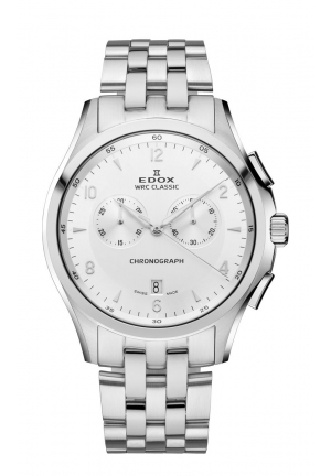 EDOX Men's Chronograph Date Silver Dial Stainless Steel Bracelet Watch 43mm