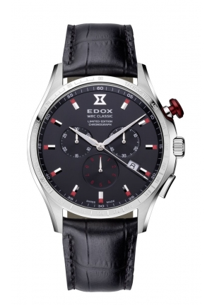 EDOX Men's Chronograph Stainless Steel Black Leather Date Watch 43mm