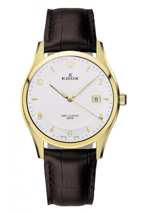 EDOX Men's Gold Stainless Steel Brown Leather Date Watch 40mm