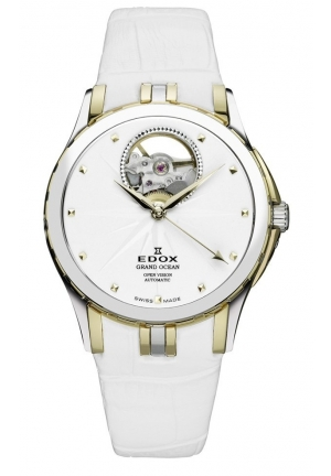EDOX Men's Grand Ocean Automatic Gold PVD White Leather Window Watch 32mm