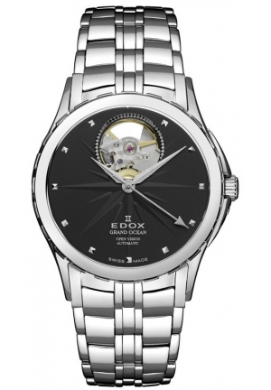 EDOX Men's Grand Ocean Automatic Steel Black Dial Window Watch 32mm