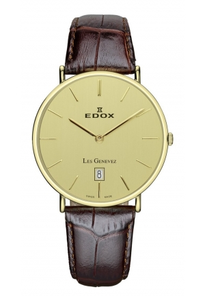 EDOX Men's Les Genevez Yellow-gold Brown Genuine Leather Watch 37mm