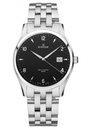 EDOX Men's Luminous Date Black Dial Stainless Steel Bracelet Watch 40mm