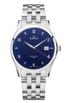 EDOX Men's Luminous Date Blue Dial Stainless Steel Bracelet Watch 40mm