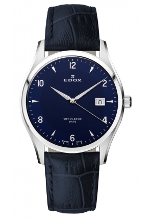 EDOX Men's Luminous Stainless Steel Blue Leather Date Watch 40mm