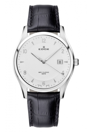 EDOX Men's Luminous Stainless Steel White Dial Black Leather Date Watch 40mm