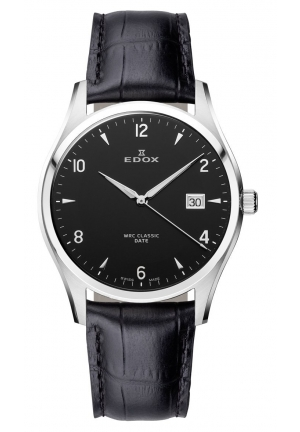 EDOX Men's Stainless Steel Black Leather Date Watch 40mm