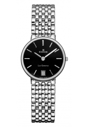EDOX Women's Les Genevez Black Dial Stainless-Steel Watch 26mm
