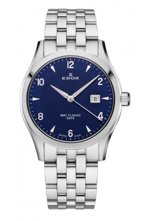 EDOX Women's Luminous Date Blue Dial Stainless Steel Bracelet Watch 32mm