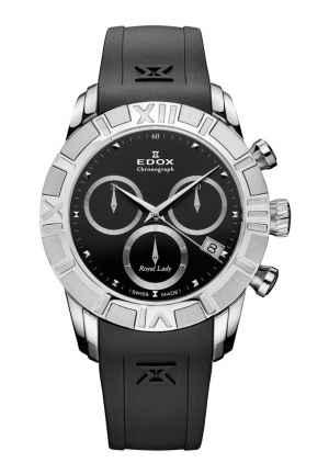 EDOX Women's Royal Lady Chronograph Black Dial Rubber Watch 36mm