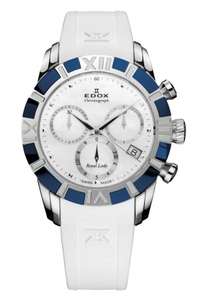 EDOX Women's Royal Lady Chronograph Mother-of-pearl Blue PVD Watch 36mm