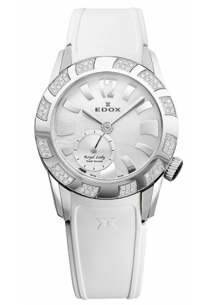 EDOX Women's Royal Lady Mother-of-pearl Diamond White Rubber Watch 34mm