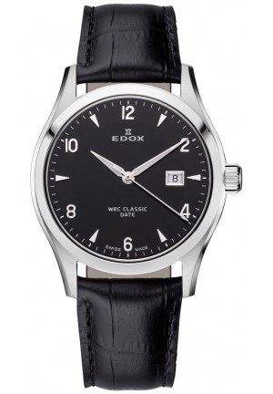 EDOX Women's Stainless Steel Black Leather Date Watch 32mm