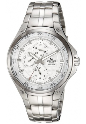 Casio Mens Watch Stainless Steel Edifice White Dial