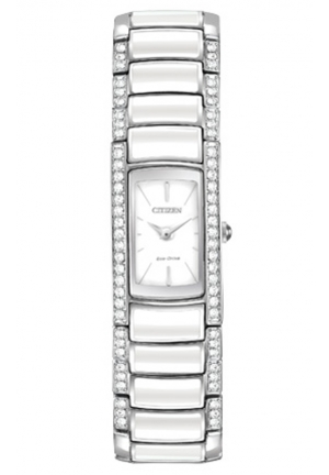 Citizen Women's Normandie Silver-Tone Watch with White Resin and Crystal Accents