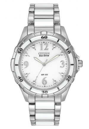 Citizen Women's Stainless Steel Eco-Drive Watch with White Ceramic