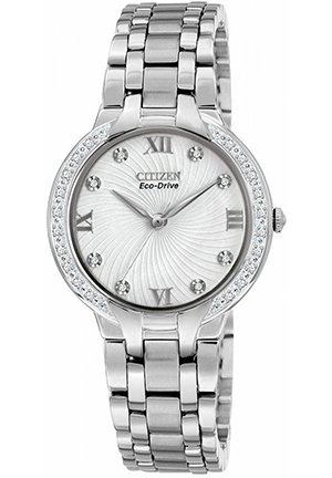 Women's Eco-Drive Bella Diamond Accent Stainless Steel Bracelet 30mm