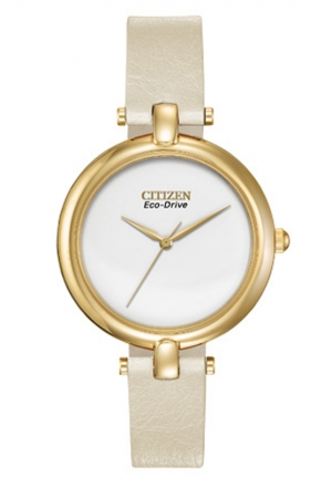 "Citizen Women's ""Silhouette"" Stainless Steel Eco-Drive Watch with Leather Band"