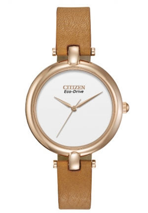 "Citizen Women's Silhouette ""Eco-Drive"" Gold-Tone Stainless Steel Watch with Brown Leather Band"