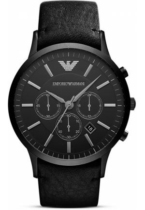 EMPORIO ARMANI Black Leather Watch, 46mm