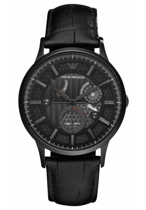 EMPORIO ARMANI Men's Automatic Meccanico Black Croco Leather Strap 43mm