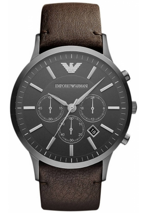 EMPORIO ARMANI Men's Brown and Black Watch 46mm