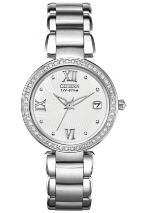 "Citizen Women's ""Marne Signature"" Stainless Steel Eco-Drive Watch with Diamonds"