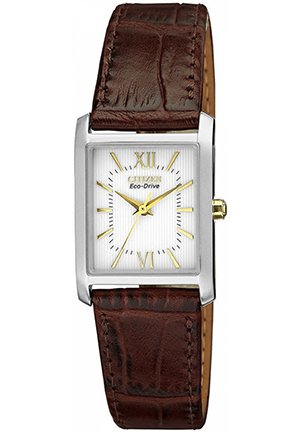 Women's Eco-Drive Brown Leather Strap 25x23mm