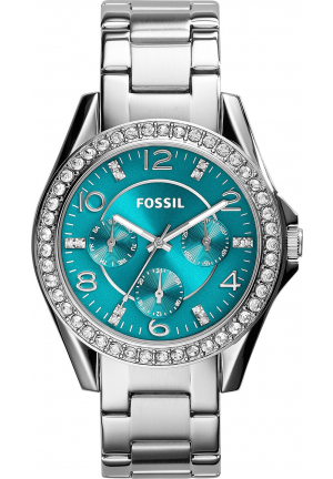 FOSSIL WOMEN'S RILEY MULTIFUNCTION STAINLESS STEEL WATCH 38MM