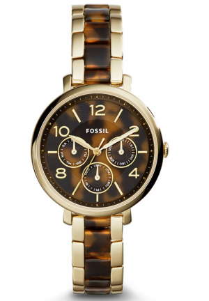 JACQUELINE MULTIFUNCTION STAINLESS STEEL AND ACETATE WATCH – GOLD-TON