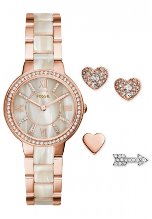 Virginia Three-Hand Stainless Steel Watch and Earring Set