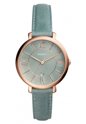 Jacqueline Three-Hand Date Sage Green Leather Watch ES4273