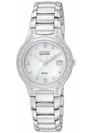 Citizen Women's Silhouette Diamond Eco Drive Watch in Silver Tone