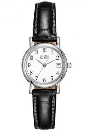 "Citizen Women's ""Eco-Drive"" Stainless Steel and Black Leather Watch"