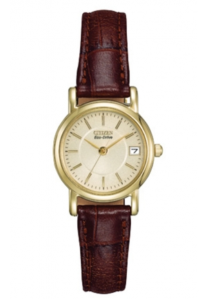 Citizen Women's Eco-Drive Gold-Tone Stainless Steel Watch with Brown Leather Band