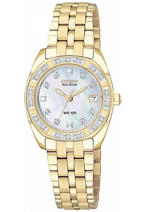 Women's Eco-Drive Paladion Diamond Accent Gold-Tone Stainless Steel Bracelet 26mm